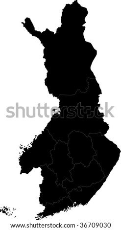 Black map of administrative divisions of Finland