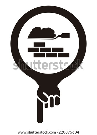 Black Map Pointer Icon With Construction Materials Shop or Construction Service Sign Isolated on White Background  - stock photo