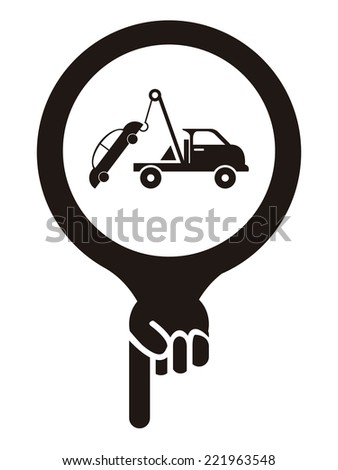 Black Map Pointer Icon With Tow Car Service Sign Isolated on White Background  - stock photo