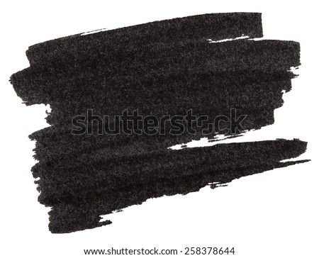 Black marker paint texture isolated on white background - stock photo