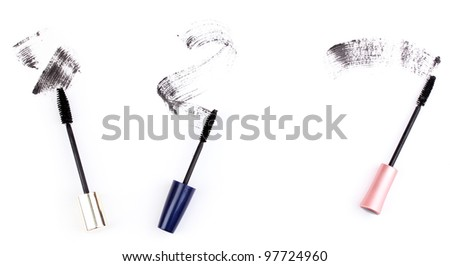 Black mascara brush strokes isolated on white - stock photo