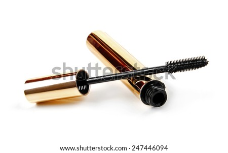 black mascara wand and tube isolated on white - stock photo