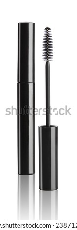 Black mascara with eyelash brush isolated on white
