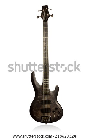 Black matt electric bass guitar front view isolated on white background - stock photo
