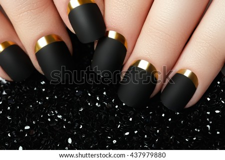 Black Matte Nail Polish Manicured With Manicure Dark