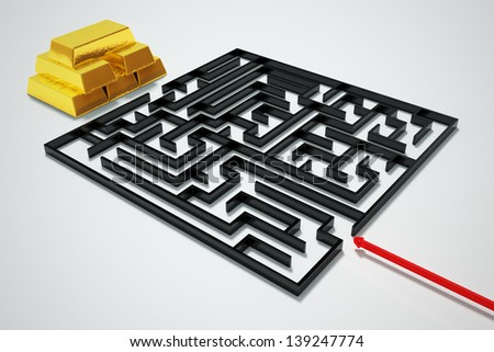 Black maze with a bars of gold as a prize. - stock photo