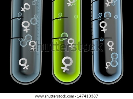 Black  medical laboratory 3d graphic with isolated woman symbol  in three test glasses