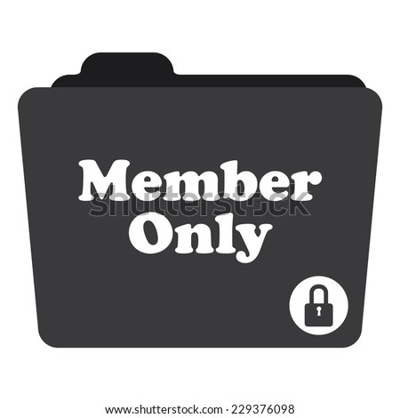 Black Member Only Folder With Lock Sign Icon Isolated on White Background  - stock photo