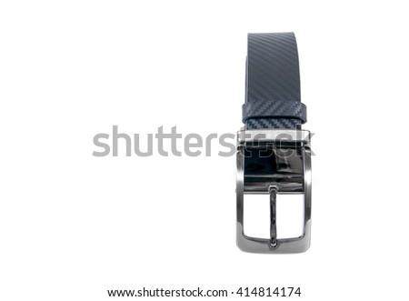 Black men belt isolated on white background - stock photo