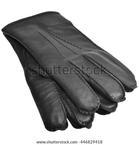 Black Men Deerskin Gloves, Large Detailed Isolated Men's Fine Grain Deer Leather Glove Pair Macro Closeup Studio Shot, Soft Textured Warm Winter Accessory Pattern Detail - stock photo