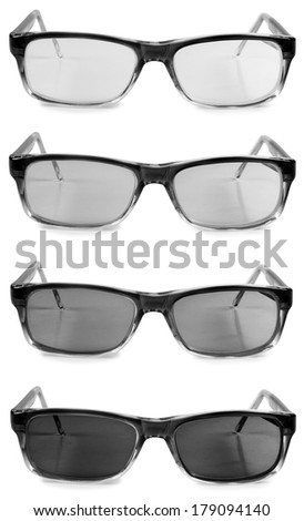 Black men glasses on white background