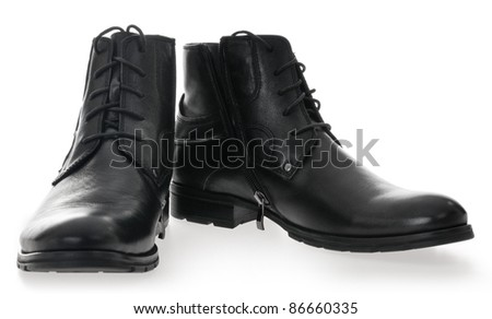 Black Men's leather shoes on a white background