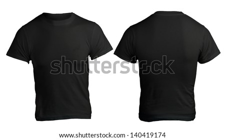 Black men's shirt template, front and back design - stock photo
