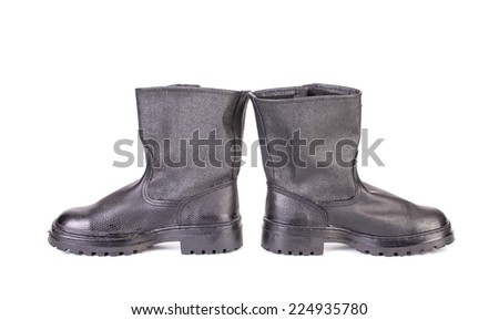 Black men's shoes. Isolated on a white background. - stock photo