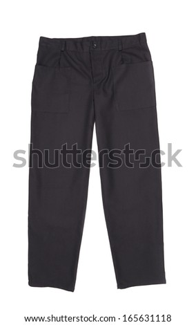 Black men trousers. Isolated on a white background - stock photo