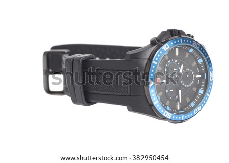 Black Mens Watch isolated on a white background