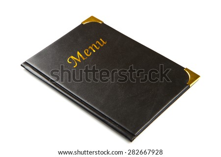 Black menu with gold menu isolated on white background. - stock photo