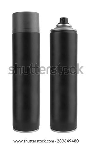 Black metal bottle with sprayer cap for cosmetic, perfume, deodorant or freshener or hairspray - stock photo