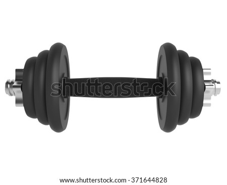Black metal dumbell on isolated white