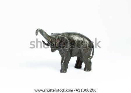 black metal elephant on a white background