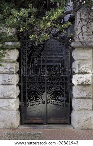 Black Metal Entrance Gate Of An Old Villa
