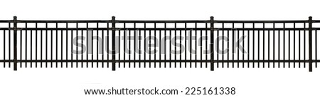 Black metal fence isolated on white - stock photo