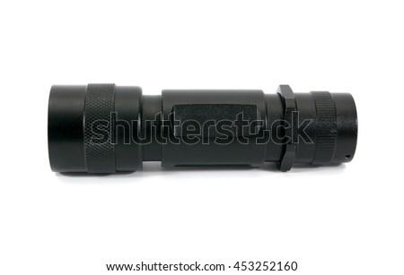 Black metal flashlight isolated on white background.LED flashlight isolated - stock photo