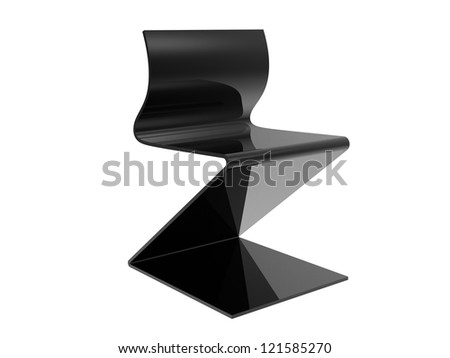 Black Metal Office Chair isolated on a white background - stock photo