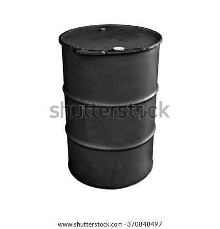 Black metal oil barrel isolated on white background