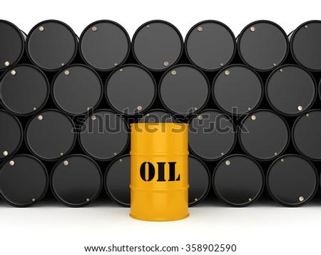 Black metal oil barrels on white background - stock photo