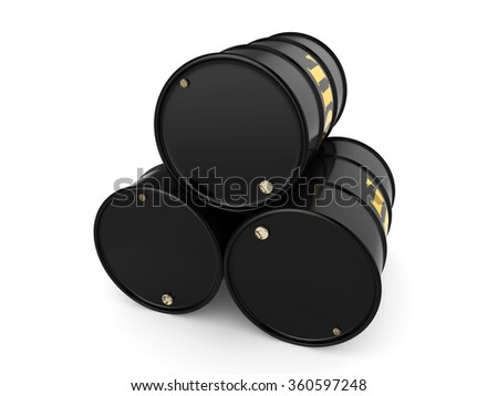Black metal oil barrels on white background