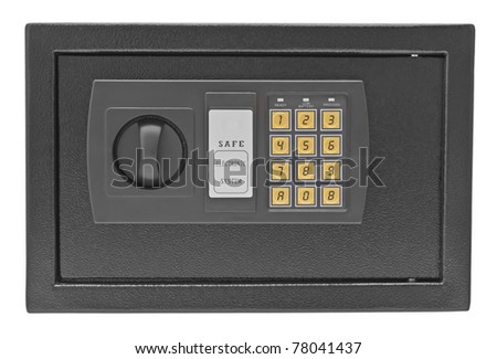 Black metal safe isolated on white background