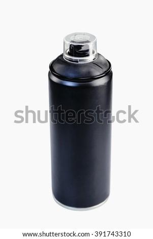 Black metal spray bottle isolated on white - stock photo