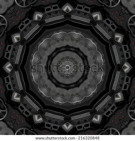 Black metal steampunk style detailed kaleidoscope illustration - stock photo