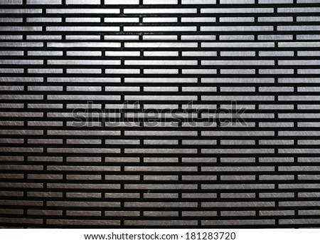 black metal texture - rectangle lines shiny strong plate silver alloy construction surface - stock photo