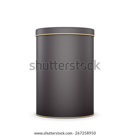Black metal tin with place for your text. Package for design. Tea,coffee,dry products. 3d illustration. - stock photo