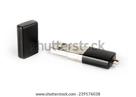 Black metal USB flash drive isolated on white - stock photo
