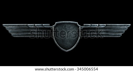 Black metal wings isolated on black background front view. 3d render - stock photo