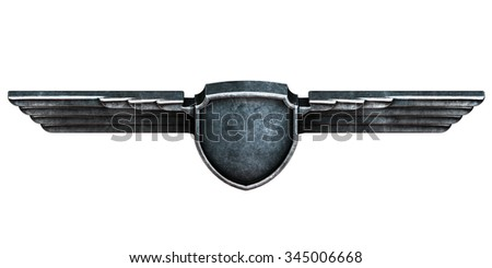 Black metal wings isolated on white background top view. 3d render - stock photo