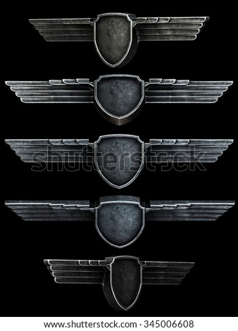 Black metal wings set isolated on black background. 3d render - stock photo