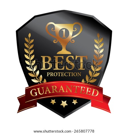 Black Metallic Best Protection Guaranteed Ribbon, Shield, Label, Sticker, Banner, Sign or Icon Isolated on White Background - stock photo