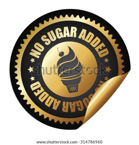 Black Metallic Circle No Sugar Added Ice Cream Infographics Peeling Sticker, Label, Icon, Sign or Badge Isolated on White Background - stock photo