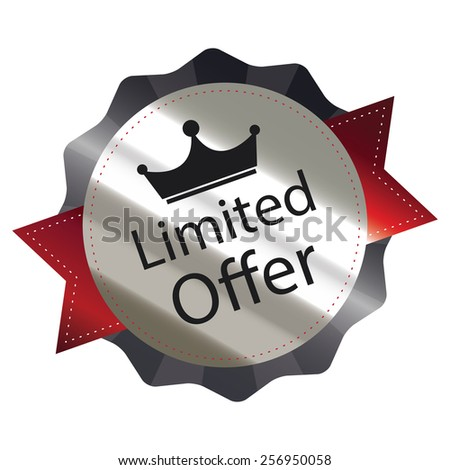 black metallic limited offer sticker, sign, badge, icon, label isolated on white - stock photo