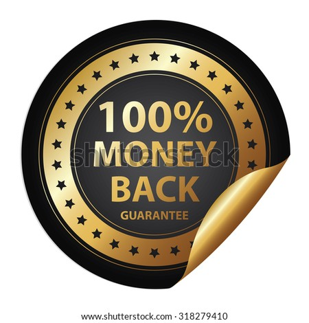 Black Metallic 100% Money Back Guarantee Infographics Peeling Sticker, Label, Icon, Sign or Badge Isolated on White Background  - stock photo