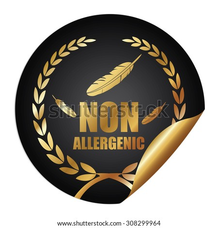 Black Metallic Non Allergenic Infographics Peeling Sticker, Icon, Badge, Sign or Label Isolated on White Background