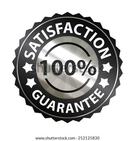 black metallic satisfaction guarantee 100% sticker, sign, badge, icon, label isolated on white - stock photo