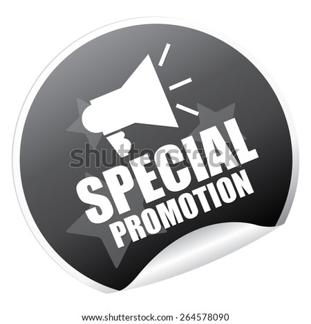 Black Metallic Special Promotion Sticker, Icon or Label Isolated on White Background  - stock photo