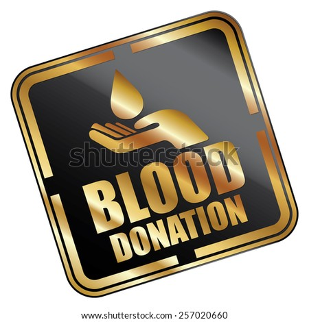 Black Metallic Square Blood Donation Icon, Sticker, Banner, Tag, Sign or Label Isolated on White Background - stock photo