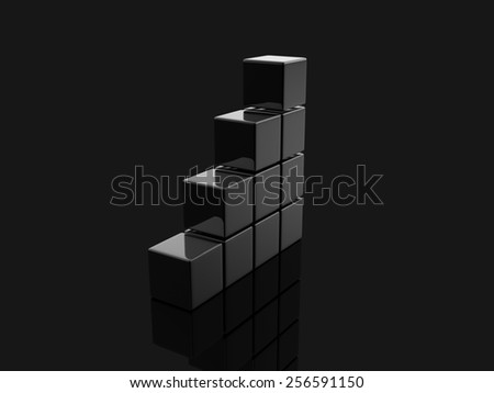 black metallic white cubes on gray background., digitally generated image