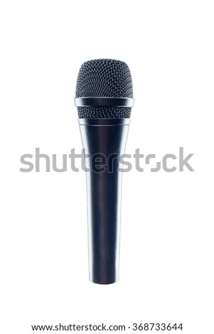 Black Microphone isolated on the white background. Speaker concept. - stock photo